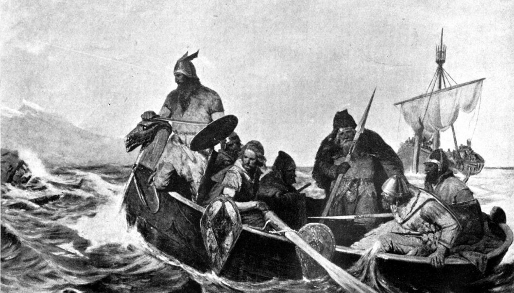 A black-and-white reproduction of a painting by Oscar Wergeland, showing Norsemen in a ship. (Illustration: Guerber, H. A.)