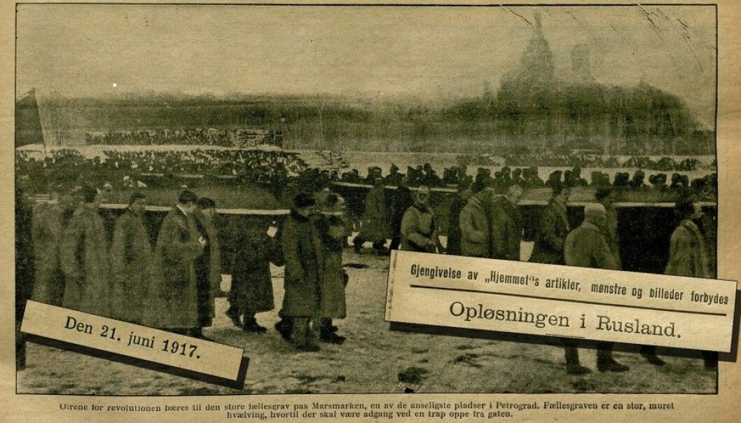 "The magazine ""Hjemmet"" was constantly updating its readers on the Russian revolution. This is the front page from the 21st of June in 1917. The image shows victims of the revolution being carried to a mass grave in St. Petersurg, then known as Petrograd. (Photo montage: National Library of Norway/forskning.no)"