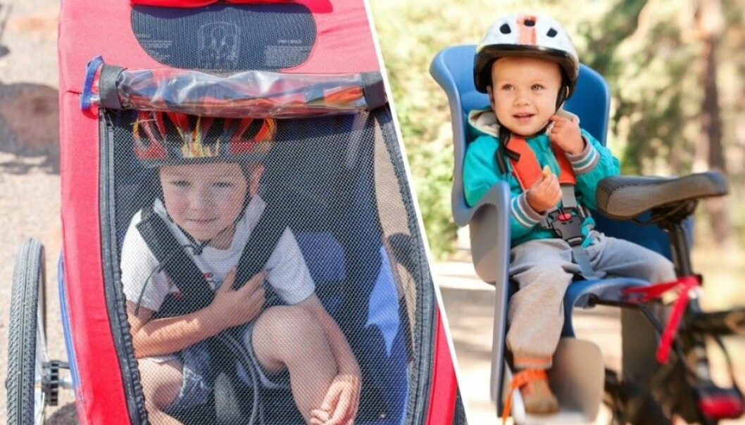 "Not much research has been conducted regarding the safest choice for cycling with a child passenger – should tots be in child seats on the bike or placed on a trailer behind it. ""In either case, the child should be secured with a seatbelt and a helmet,"" says Alena Høye of the Norwegian Centre of Transport Research. (Photo: Shutterstock/NTB scanpix. Montage: Eivind Torgersen)"
