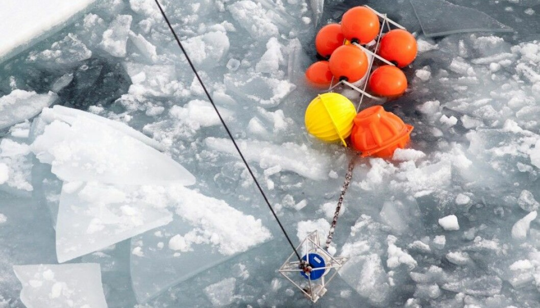 Researchers collect salinity and temperature measurements from the Arctic Ocean north of the island of Severnaya Zemlya. (Photo: Ilona Goszczko)