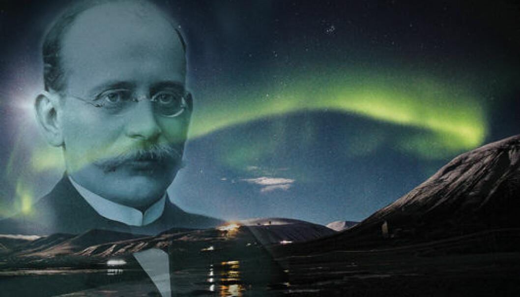 Professor Kristian Birkeland was nominated eight times for the Nobel Prize. (Illustration: Hanne Utigard. Photo of Birkeland: Ludvig Forbech-MUV /UiO. Northern lights photo: Yngve Vogt)