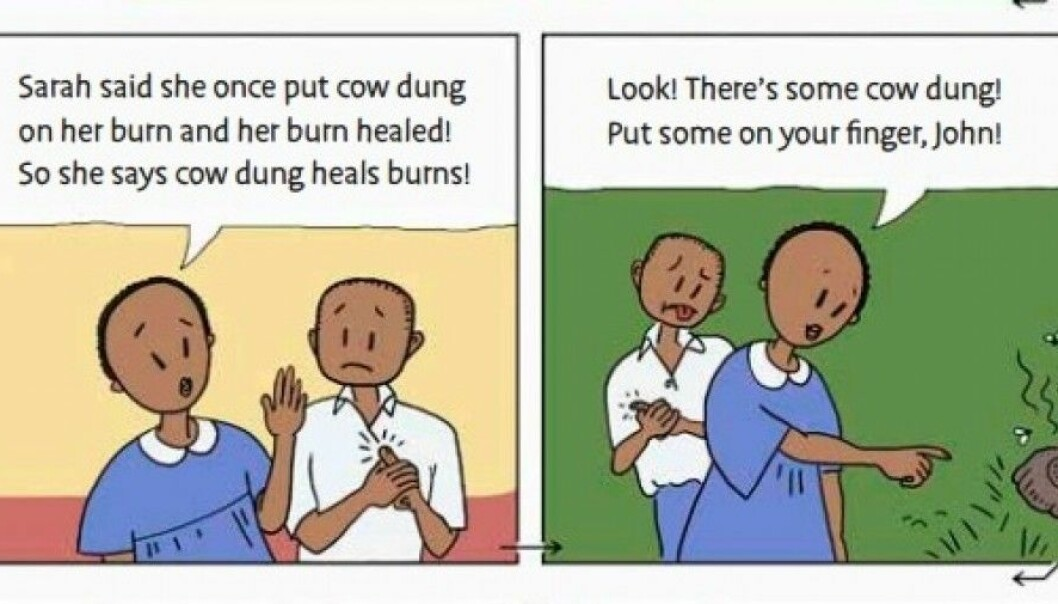 Applying cow dung to heal burns is advice commonly given in Uganda. By using comics in a textbook, researchers were able to teach the kids to be more critical to such advice. (Illustration: Informed Health Choices)