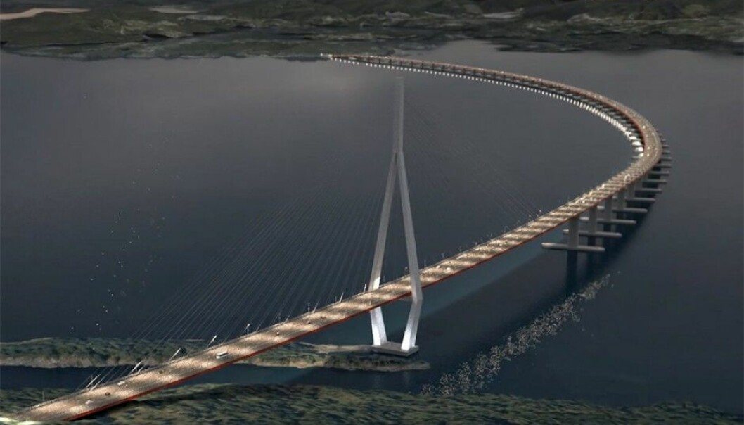 Here we see an illustration of the floating bridge across the Bjørnafjord. The distance to the first pontoon is more than 400 metres, which is more or less the same length as the main span of the Lysefjord bridge. (Illustration: SVV / ViaNova / Baezeni)