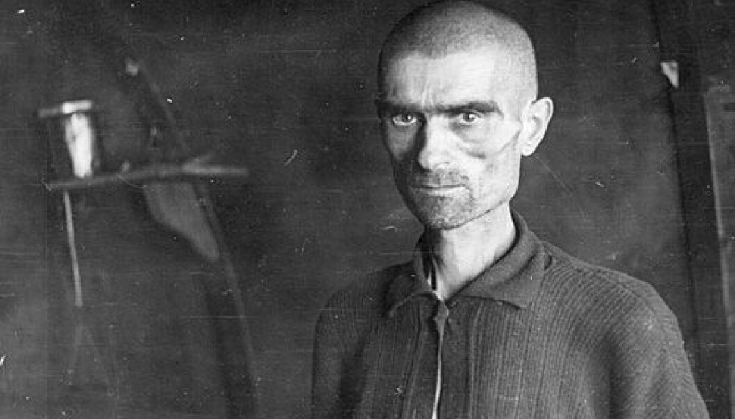 Soviet prisoner of war photographed in Bjørnelva Camp in 1945. (Photo: Leiv Kreyberg, National Archives for Norway)