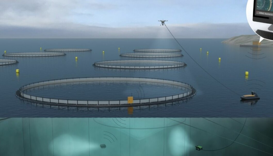 An autonomous vessel plays one of the key roles as part of the unmanned fish farm facility currently under development in Trondheim. (Illustration: Sintef)
