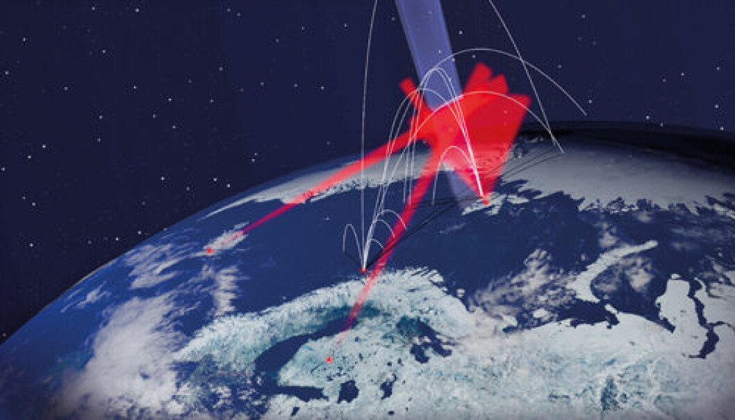 The white lines show the trajectories of the eleven research rockets. The red fields are measurements made from the ground. The blue field is the special part of the atmosphere which is going to be studied. Illustration: Andøya Space Centre