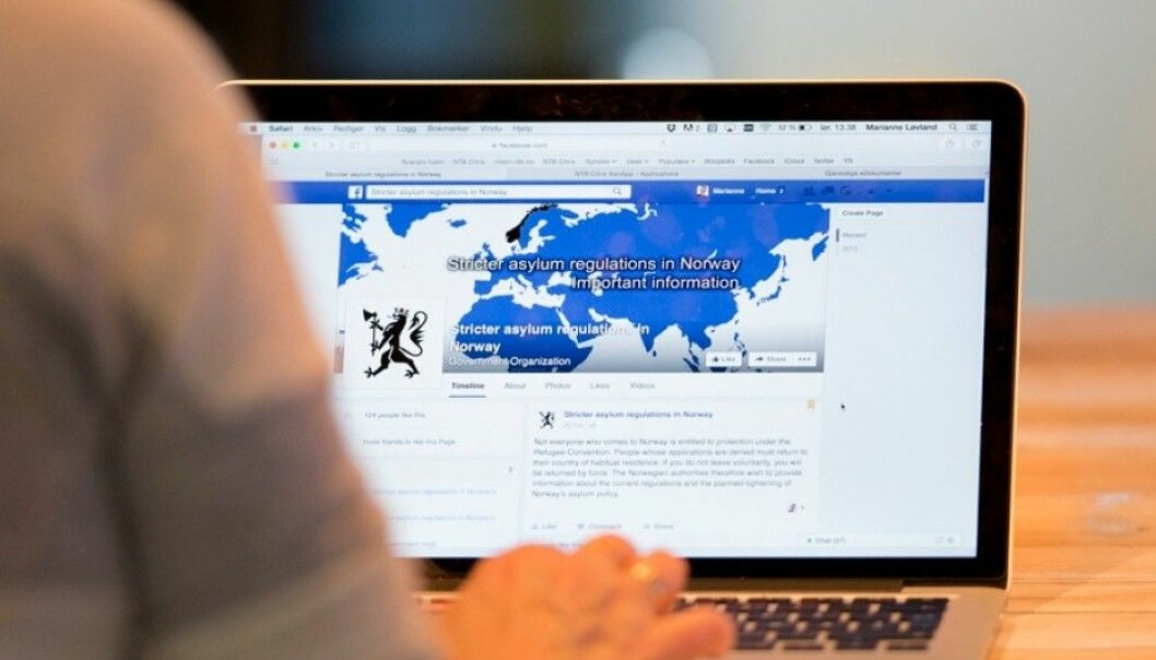 """The social media campaign """"Stronger asylum regulations in Norway"""" reached 11.5 million people. It also reached many in the target group, chiefly men from Afghanistan, Eritrea and Ethiopia. But no one yet knows if it helped slow the flow of asylum seekers. (Photo: Torstein Bøe / NTB scanpix)"""