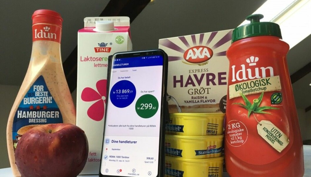 "More Norwegians have downloaded supermarket apps this year than in 2016. Many have had qualms about doing so because they figure their purchase history will be exploited commercially. The photo is of the ""Æ"" app of the supermarket chain Rema 1000. (Photo: Anne Lise Stranden/forskning.no)"