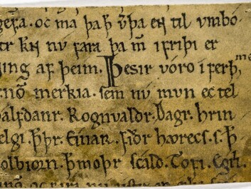 There are a number of different versions of the saga of Olav the Holy. This particular manuscript, from the late part of the 1100s, has bits of text from each of the two major versions, from Snorres Heimskringla and from Fagrskinna. There are also pieces of text that are unique to this manuscript. (Source: digitalarkivet.no)