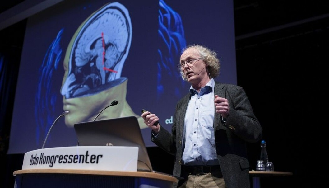 "The synapses in the brain are dynamic and ever changing. Exercise and learning extend their effectiveness. ""That's why post-stroke exercise is crucial to regaining one's fitness,"" says brain researcher Espen Dietrichs at a lecture organized by LHL. (Photo: Christopher Olssøn / LHL)"