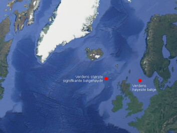 "The world's highest single wave measured at a fixed installation — the ""Draupner wave"" —was 25.6 metres high. It struck the Draupner platforms in the North Sea on New Year's Eve, 1995. The world's highest waves over a 20-minute period (significant wave height) were measured in the ocean between Iceland and Scotland in February 2013. It is likely that there largest single waves in the world are found in the sea south of Iceland without them ever having been measured. (Graphic: forskning.no)"