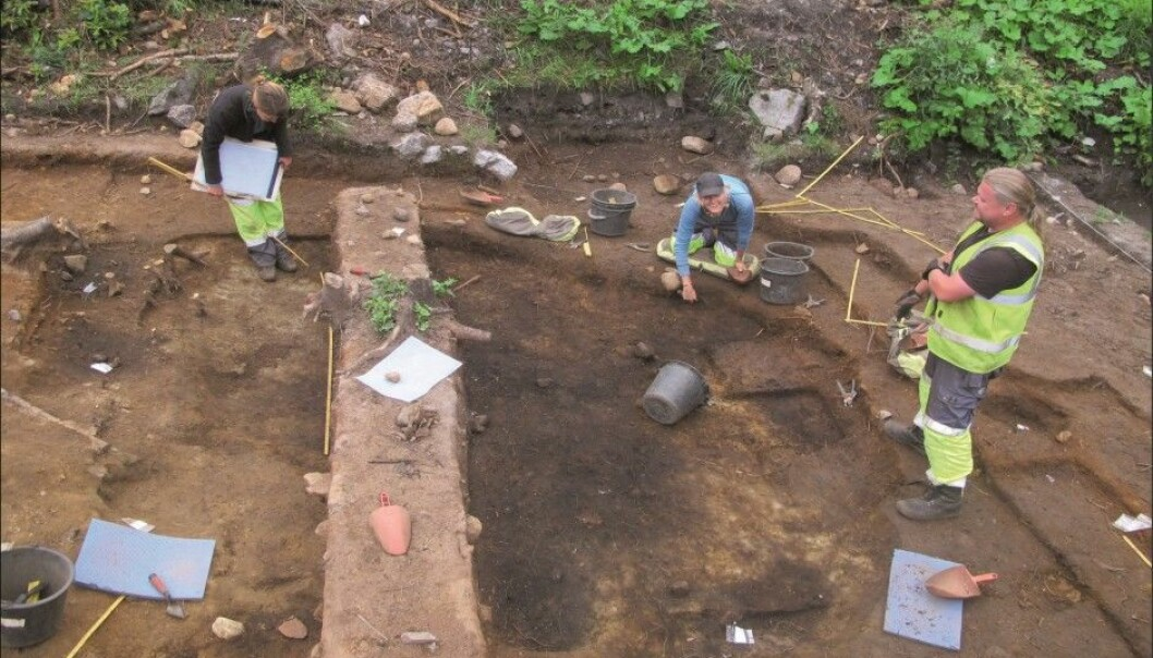 An excavation of a Stone Age settlement where there was a hut-like structure, dated to roughly 7000 BC. (Photo: Museum of Cultural History)