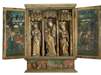 This altarpiece from Austevoll Church is one of the pieces that Kausland believes was made in the Netherlands. What indicates that the piece was made in northern Netherlands are the techniques used in its construction, gilding, sculptures, as well as in the paintings. (Photo: Svein Skare, Bergen Historiske museum, Universitetet i Bergen.)