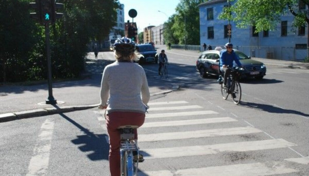 Cities like Oslo have various kinds of bike lanes. According to the Norwegian Council for Road Safety about half of all cyclists in Norway use helmets. By comparison, just 0.5 percent of all cyclists in the Netherlands use them. (Photo: Marte Dæhlen / forskning.no)