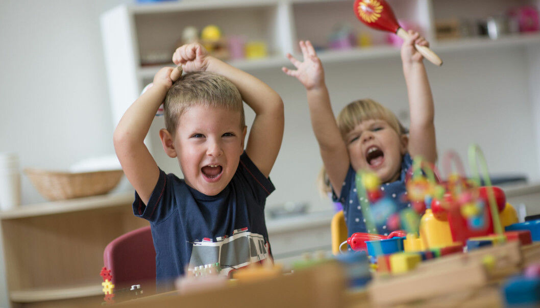 Preschools and kindergartens are noisy places. But buried in the noise may be important information that children are trying to convey to their teachers. That means preschool and kindergarten teachers can't use hearing protection or ear plugs, which may explain why preschool teachers report more hearing problems than other workers. (Photo: Shutterstock / NTB Scanpix)