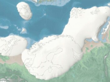 The last ice age started about 35 000 years ago. This images shows the extent of the ice over northern Europe, when the ice cap was at its largest. The average temperature was about 10 degrees C lower than it is today, and the sea level was about 120 metres lower. The image is from the interactive map of the last ice age, where you can watch ice caps shrink and swell over time in northern Europe.