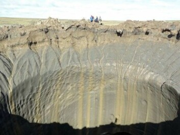 Media reports described mysterious giant holes that were found in the tundra several years ago on the Jamal Peninsula in northern Siberia. Additional holes like these have appeared recently. We now know that the holes are likely from methane gas blow-outs, just like the craters that researchers have discovered in the Barents Sea. (Photo: Vasily Bogoyavlensky / AFP / NTB scanpix)
