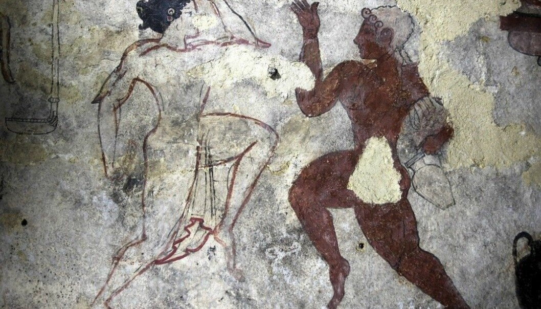 The Etruscans believed that erotic rituals, blood rituals and ecstatic dance would bring the soul safely to the Kingdom of Death. The picture is from the Tomb of the Lionesses in Tarquinia.