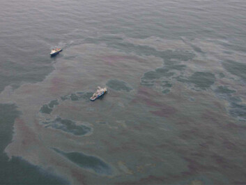 An aerial photo from an oil spill containment drill shows an oil slick from low altitude. (Photo: The Norwegian Coastal Administration/NOFO/Sundt Air)