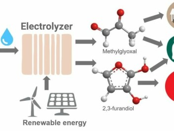 The illustration shows how emissions and water can be converted via electrolysis powered by renewable energy to become useful products. The made 2,3-furanediol and methylglyoxal. (Illustration: Karin Calvinho / Rutgers University-New Brunswick).