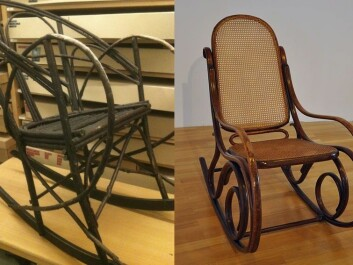 Pictured on the right is an original Thonet rocking chair from 1870. On the left is the home-made copy in the Tromsø University Museum. (Photo: Hanne Jakobsen/FA2010/Wikimedia Creative Commons)
