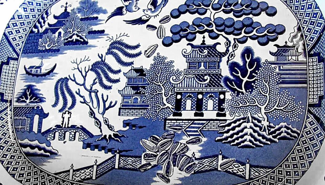 """This example of Paul Scott's porcelain artwork is based on an antique porcelain platter in the Willow pattern tradition, hence its title """"A Willow for Ai Weiwei"""". (Photo: Per Byhring)"""