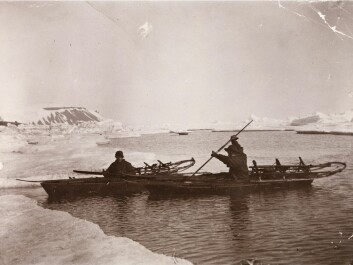 Fridtjof Nansen and Fredrik Hjalmar Johansen paddle in the ice. The picture was taken in July 1896 in Franz Josef Land, Russia. (Photo: National Library)