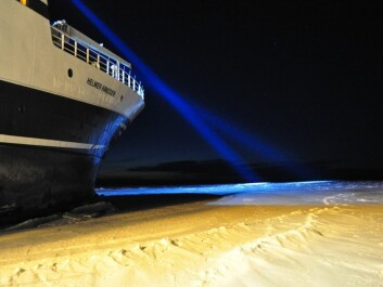 """Researchers took the """"Polar Night Cruise"""" this year with FF Helmer Hanssen to waters north of Svalbard. Thanks to the extreme weather systems """"Dagmar"""" and """"Berit"""" it was easier to navigate these waters in winter – the edge of the frozen ocean was further north than usual. (Photo: Angelina Kraft)"""
