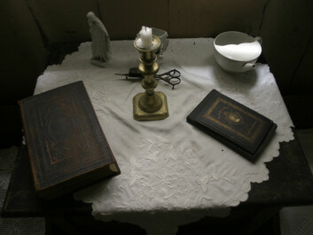 A table in a patient room at the Leprosy Museum. (Reprinted courtesy of the Leprosy Museum St. Jørgens Hospital/ the Bergen City Museum)