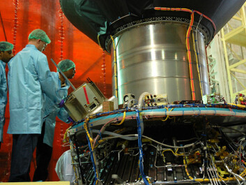 The AISSat-1 is inspected prior to launch from Satish Dhawan Space Centre in India on 12 July 2010. (Photo: ESA/The Norwegian Space Centre)