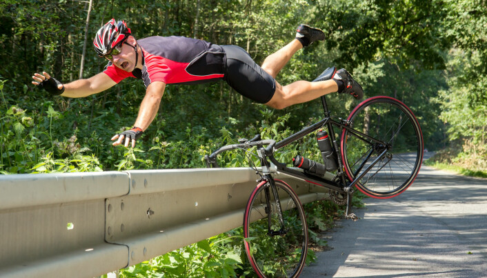 A fit and proficient cyclist plunges headlong into the bushes. Maybe some people feel just a wee bit of schadenfreude if everything turned out okay? (Photo: Milkovasa / Shutterstock / NTB scanpix).