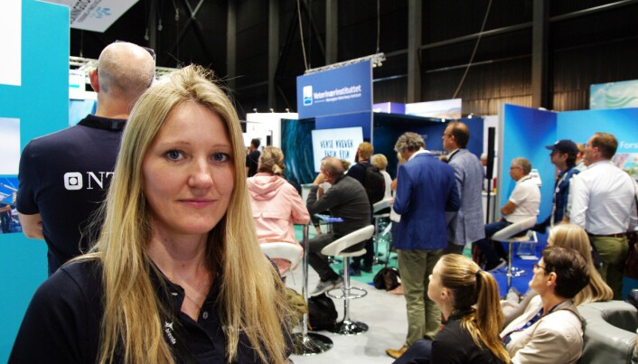 Stine Gismervik from the Veterinary Institute at the Aqua Nor 2019 technology exhibition in Trondheim. (Photo: Bjørn Lønnum Andreassen / Frilanse-Andreassen.no)