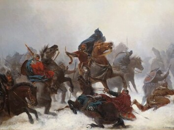 "KING SVERRE: ""King Sverre's march over the Vosse mountains"" by Peter Nicolai Arbo (1862). Sverre was King of Norway from 1184 to 1202. (Photo: Wikimedia Commons)"