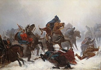 """KING SVERRE: """"King Sverre's march over the Vosse mountains"""" by Peter Nicolai Arbo (1862). Sverre was King of Norway from 1184 to 1202. (Photo: Wikimedia Commons)"""
