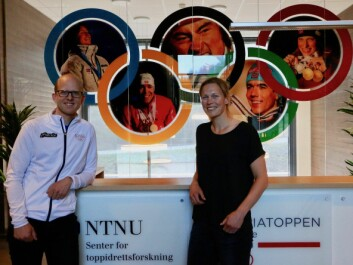 Øyvind Sandbakk (left) and Guro Strøm Solli have collaborated on a series of articles detailing Marit Bjørgen's training techniques. Sandbakk is professor and managing director of NTNU's Centre for Elite Sports Research. Solli is a PhD candidate at NTNU and Nord University. (Photo: Nancy Bazilchuk / NTNU)