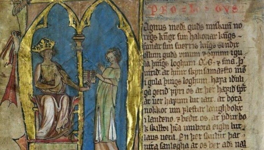 King Magnus Lagabøte introduced Norway's first nationwide law in 1274. The illustration is from the introduction to Codex Hardenbergianus, which is what the national law is called in Latin. (Image: The Royal Library, open access)