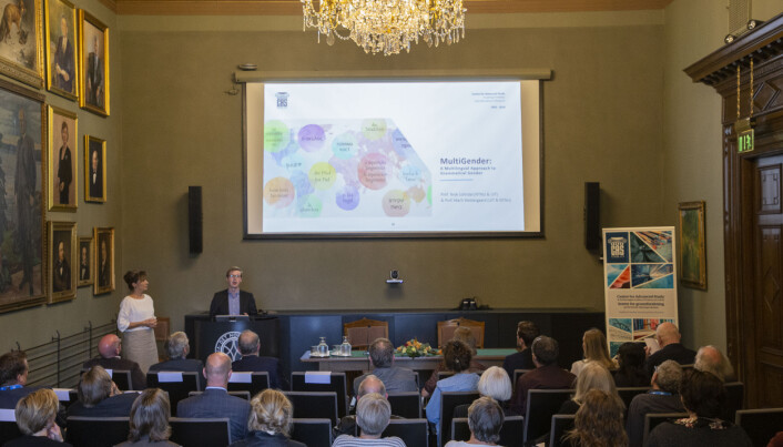 CAS project leaders Marit Westergaard and Terje Lohndal during the opening ceremony of the CAS year 2019/20. (Photo: Camilla K. Elmar / CAS)