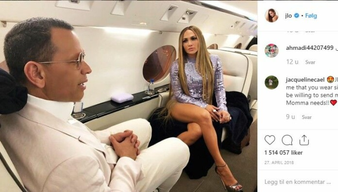 Jennifer Lopez comes in as the third highest emitter, after Paris Hilton, with her emissions of 1051 tonnes CO2 from flying in the year of 2017. Here seen on Instagram on her way to Vegas.