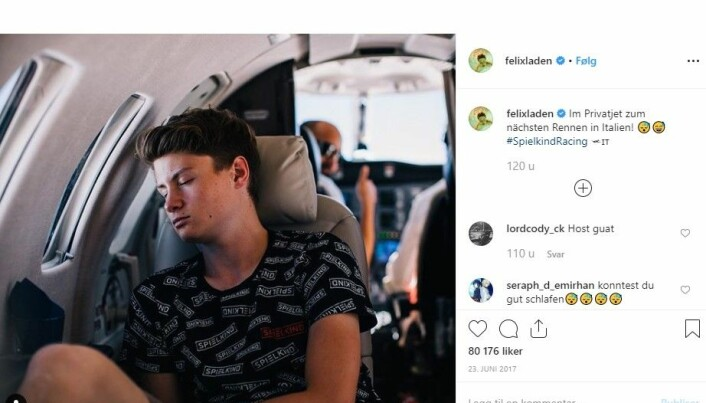 "Felix von der Laden is a german youtube star. His youtube channel has 3,2 million subscribers. The photo from his instagram account is captioned ""in private jet for the next race in Italy""."