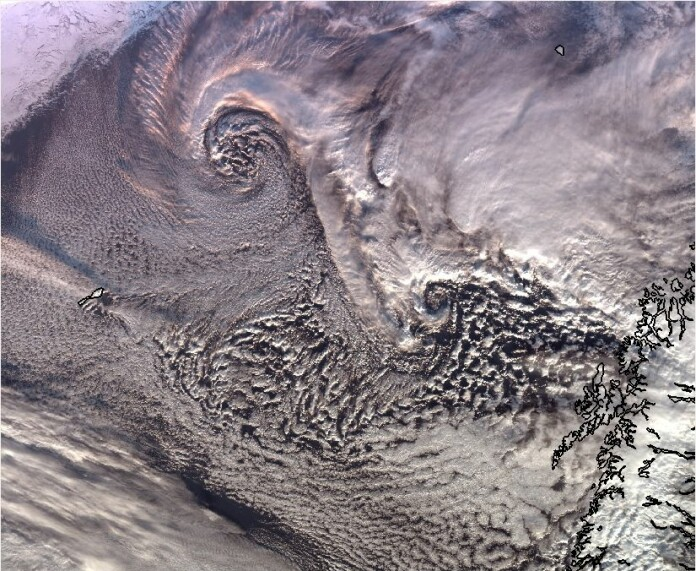 The white swirls in this satellite image are polar lows. (Photo: MET Norway)