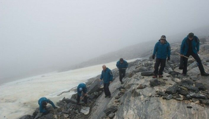 Fieldwork and searching for items in the melting glacier Lendbreen in Oppland. (Photo: Johan Wildhagen, Palookaville)