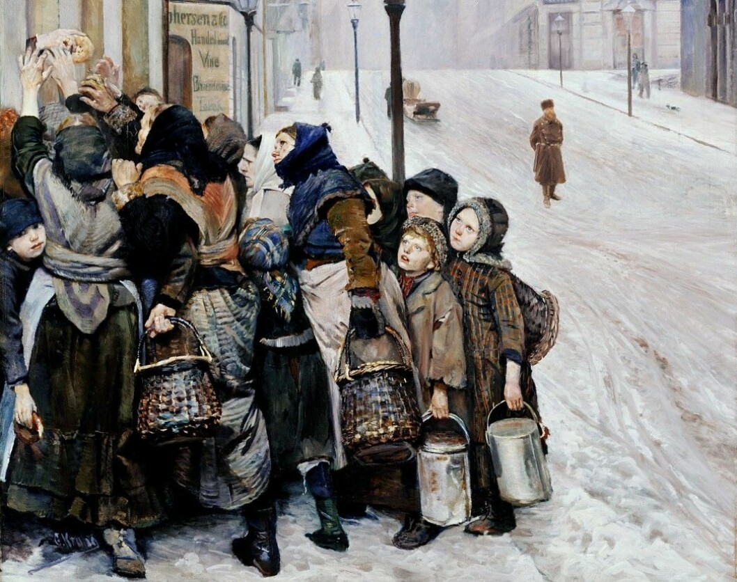 "In 1889 Christian Krogh painted this picture, ""The struggle for existence"". The following year Knut Hamsun wrote the novel ""Hunger"". Writers, painters and journalists have contributed to the myth of Norway as a very poor country just over a hundred years ago."