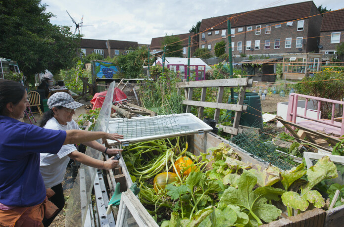 Two women looking at squash plants at the Evelyn Community Gardens, Deptford, London, England, UK. Members of these types of climate initiatives actually do manage to lower their carbon footprints, research shows.