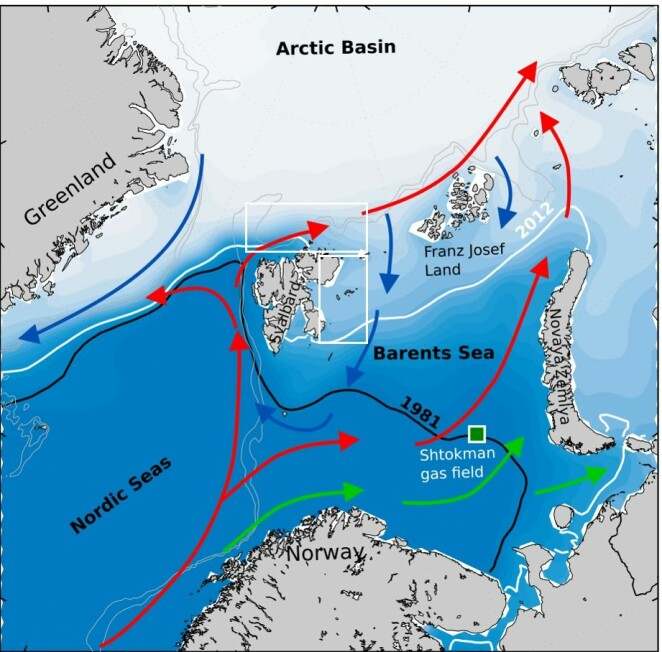 Map of dominant currents in the European part of the Arctic Ocean (red arrows indicate the flow of warm Atlantic water inside the Arctic Ocean, blue arrows indicate the flow of colder Arctic water out of the Arctic Ocean, green arrows indicate flow of Norwegian coastal water), and the exploration areas for the ongoing expedition east and north of Svalbard (white boxes). The ice spread in 1981 and 2017 is indicated respectively by a black and white line in the Barents Sea.