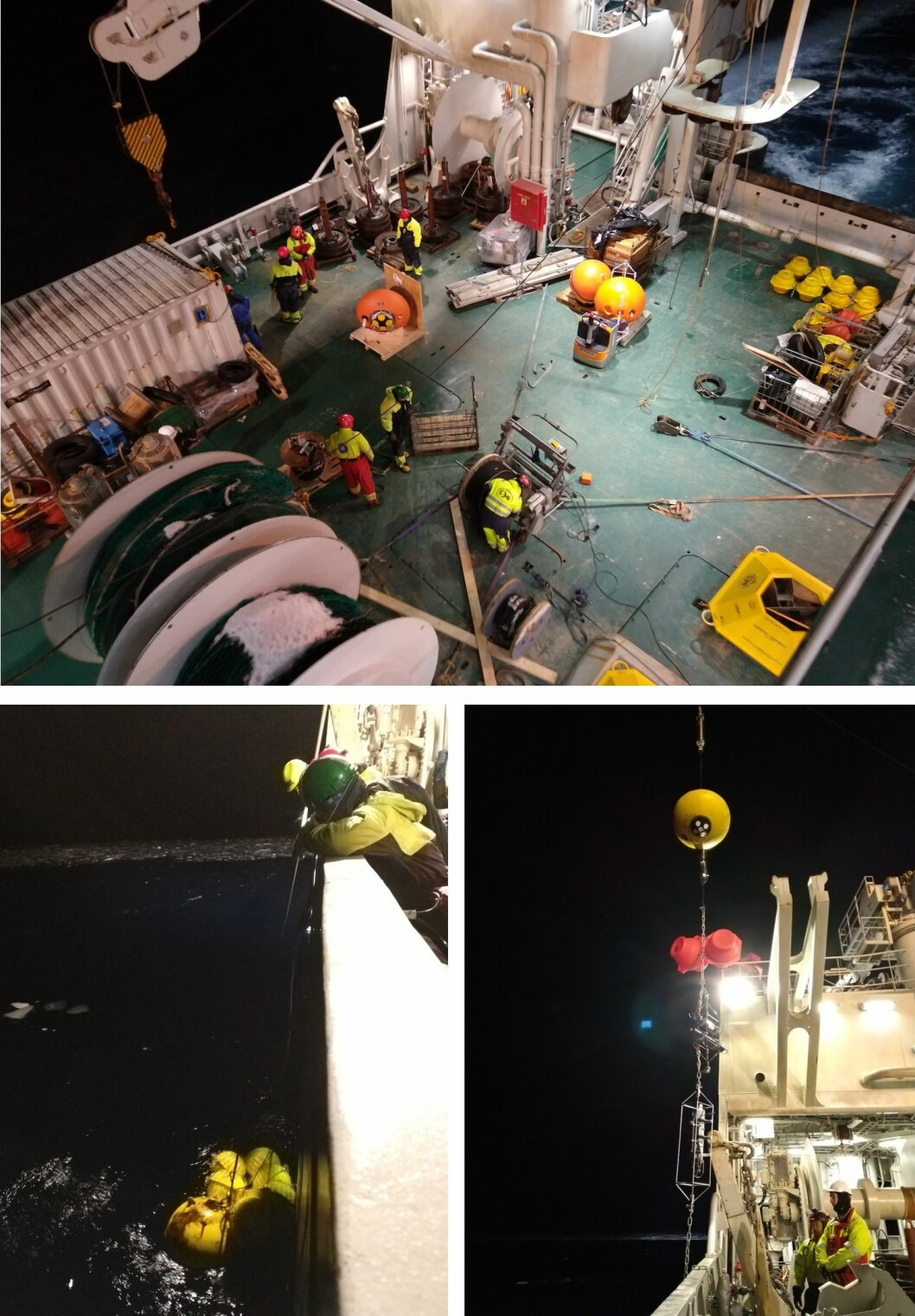 Retrieving and deploying oceanographic rigs is a demanding operation that would not be possible without the trained and knowledgeable crew of the ship.