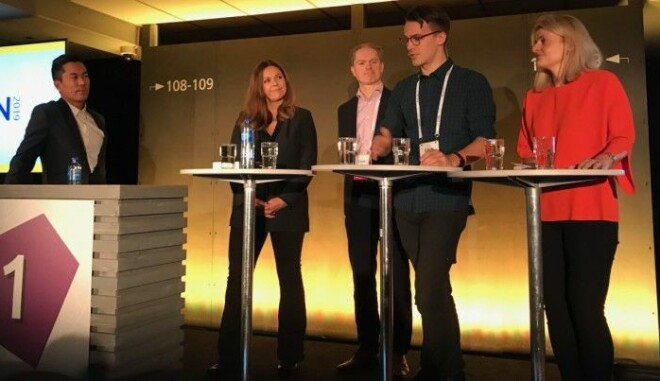 Norwegian Broadcasting Corporation programme leader Christian Strand led a panel debate on gene testing during the EHIN conference in Oslo in mid-November. From left: Anne Kjersti Befring, Ole Johan Borge, Håvard Kristoffersen Hansen and Inger Lise Blyverket.