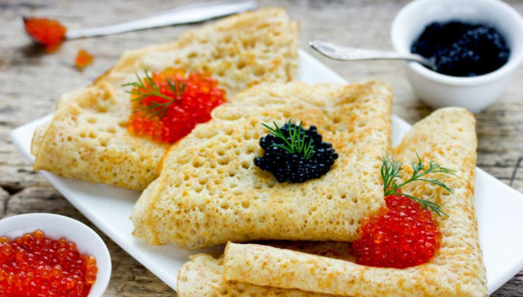 Pancakes with caviar – my favourite!