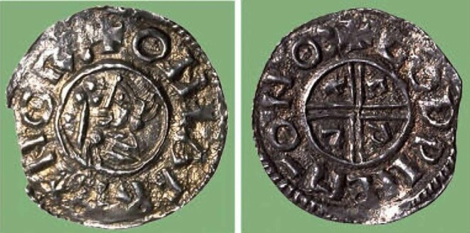 "The first Norwegian coin from the year 995, minted under King Olav Tryggvason. On the front it says ""ONLAF REX NORmannorum"" (Olav King of the Norwegians) and on the back GODWINE MO NOR (Godwine coin master in Norway)"