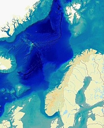 The image shows the North Sea and the Barents Sea, both of which are relatively shallow, and the deep Norwegian Sea. Eggakanten extends north along the coast, all the way past the west side of Svalbard. The area off Vesterålen in Nordland is the shortest way out to the deep sea.