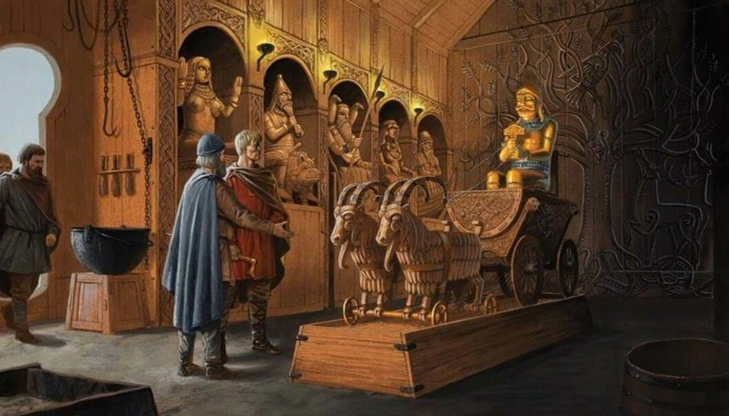 The Flateyarbók manuscript tells about beautiful Norwegian pagan temples. Along the wall in the photo are Freyja, Freyr, Odin, Frigg and Njord. Thor is sitting in the wagon with his hammer. The Trønder chieftain Ironbeard presents his cult site to Christian King Olav Tryggvason. Flateyarbók has several stories not found elsewhere in the sagas.